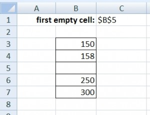 First empty cell in column - example1