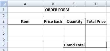 Empty Template For Order Form