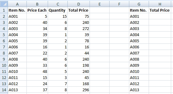List to copy values only