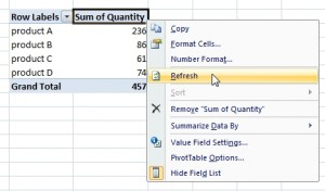 refresh pivot table