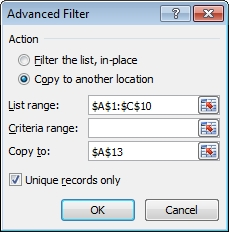 Advanced filter - copy to another location