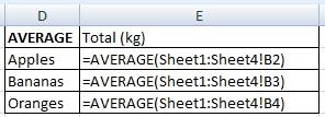 AVERAGE with formulas