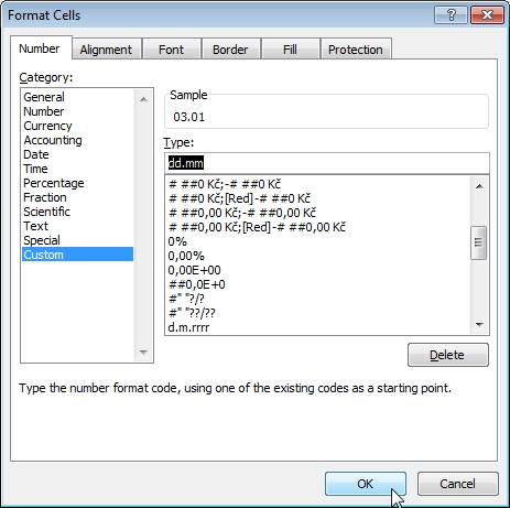 format cells menu in excel