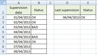 Last non empty cell in Excel