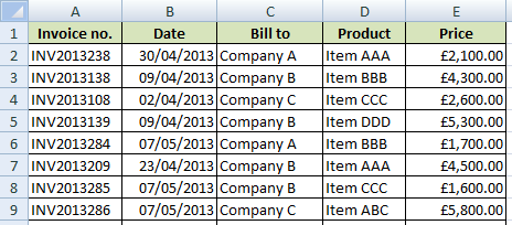 List of invoices in Excel