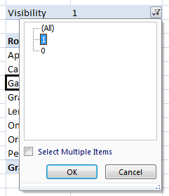 Pivot Table with visibility filter