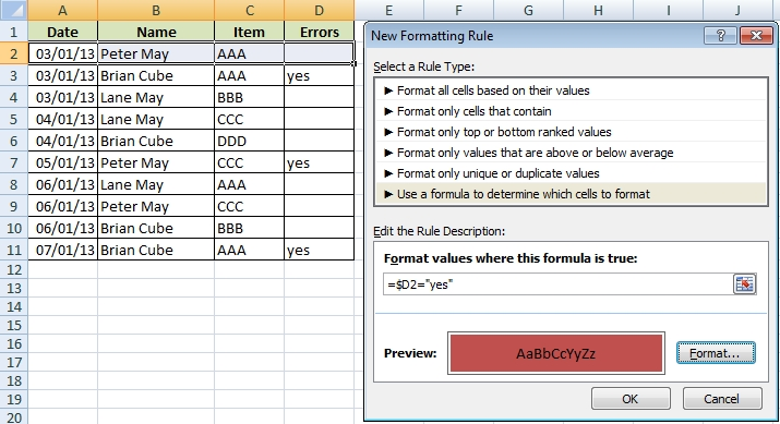 New Formatting Rule by formula
