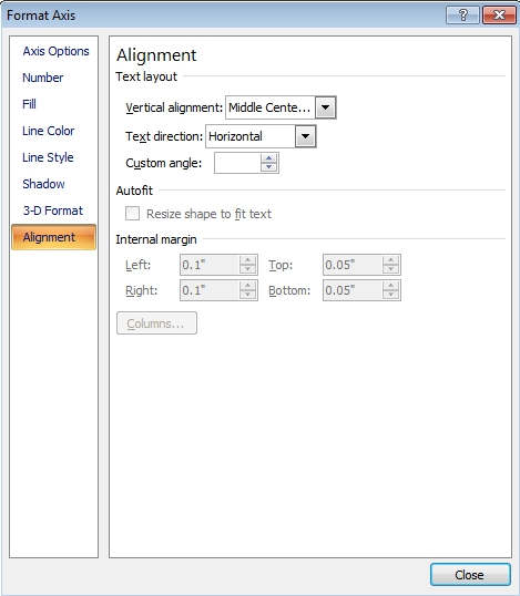 Format Axis alignment menu