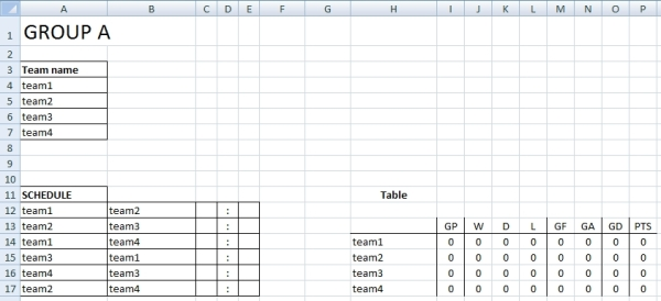 Sport tournament template for Tournament spreadsheet template