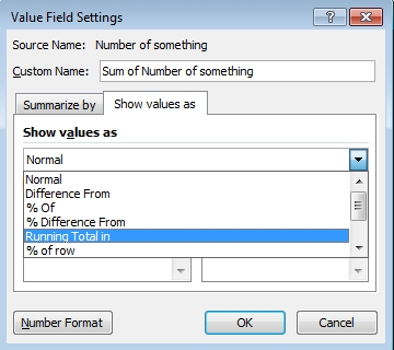 Value Field Setting selection