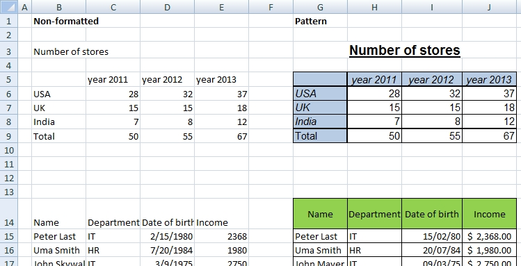 excel format exercise
