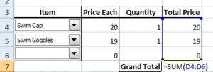Grand Total formula