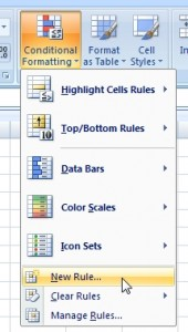 New rule in conditional formatting