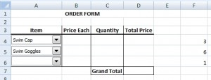 Order form with combo boxes