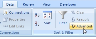 Advanced filter in Excel 2007