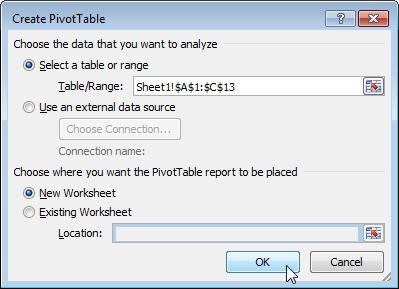 Create new PivotTable menu