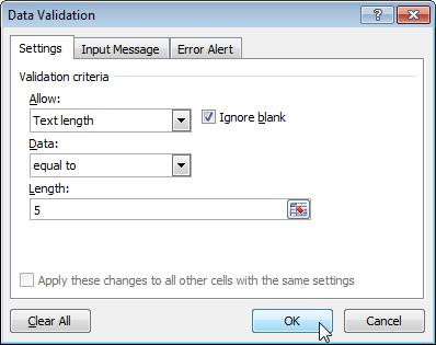 Data Validation Text length