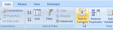Text to columns on the Excel Ribbon