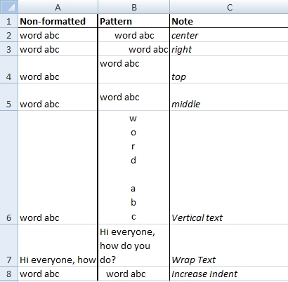 excel exercise alignment format
