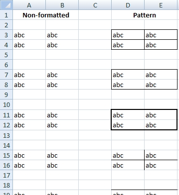 excel exercise border format