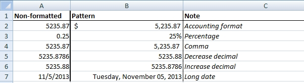 excel exercise number format